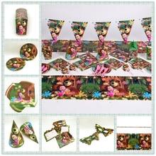 Masha En Beer Thema Kids Meisjes Gunst Verjaardag Pack Event Party Schattige Kopjes Platen Maskers Baby Douche Wegwerp Servies Levert