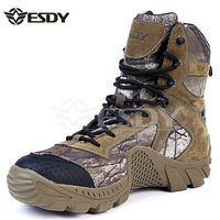 Натуральная кожа Esdy брендовые Дизайнерские мужские военные тактические сапоги для мужчин на открытом воздухе для охоты в пустыне черные мо