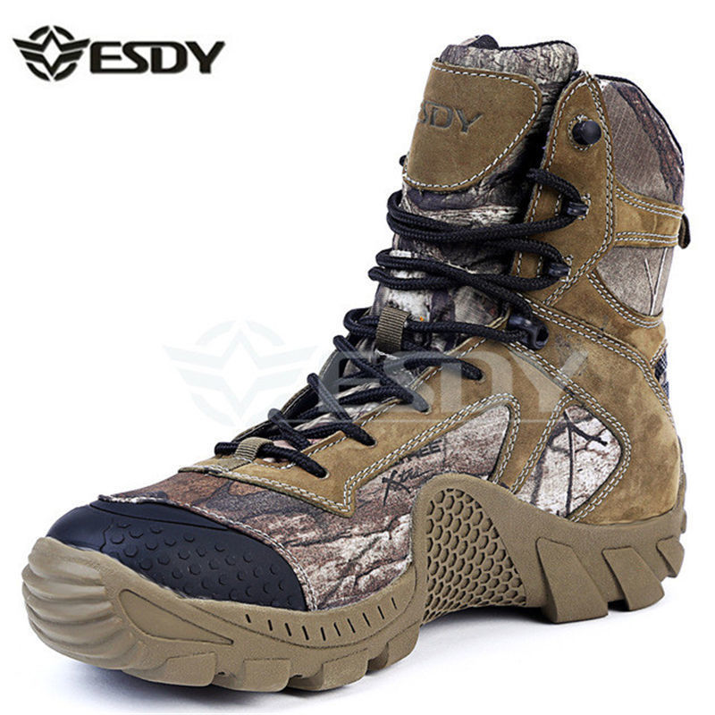 Real Leather Esdy Brand Designer Men Military Tactical Boots For Men's Outdoor Hunting Desert Black Motorcycle Army Combat Shoes цена