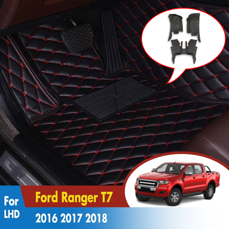 Leather Rugs Dash Mats Cargo Liners Pads Auto Interior Accessories LHD Car Floor Mats For Ford Ranger T7 2016 2017 2018 2019(China)