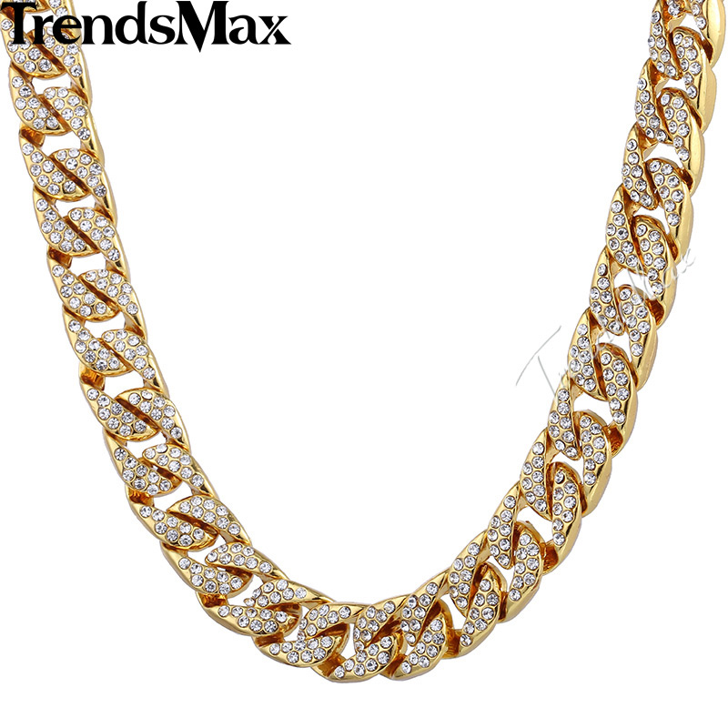 Trendsmax 14mm Bling Hiphop Iced Out Curb Cuban Gold color Necklace w Paved Clear Rhinestones Mens