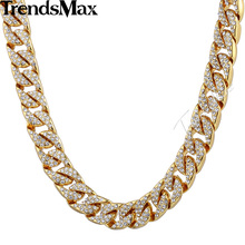 Trendsmax 14mm Bling Hiphop Iced Out Curb Cuban Gold-color Necklace w Paved Clear Rhinestones Mens Womens Chain Jewelry GN432