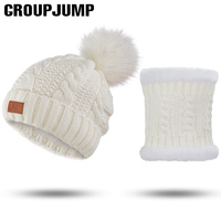 Fashion Winter Hat And Scarf Set For Women Knitted Hat Scarf Girls Pompoms Beanies Knitted Scarves