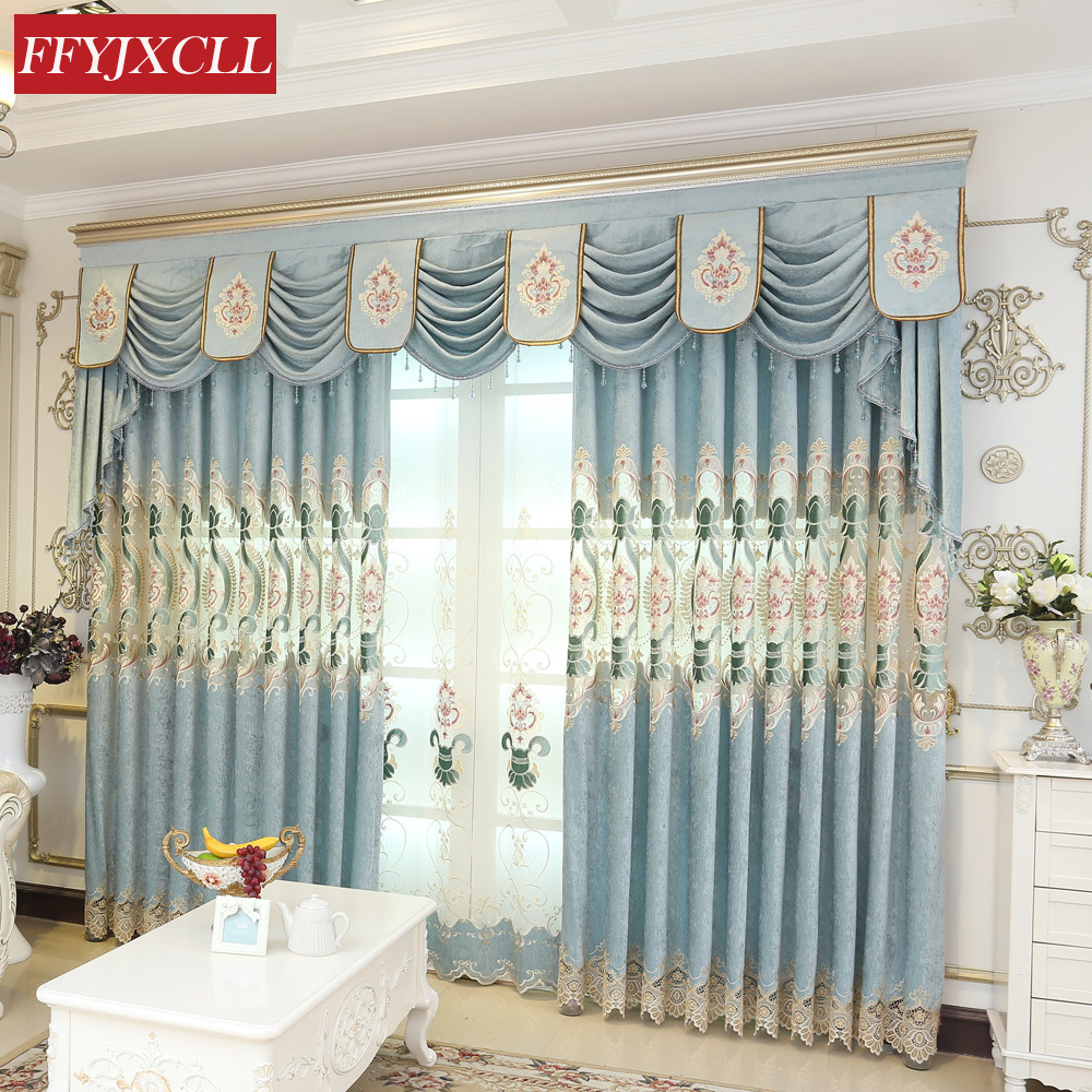 New Europe Luxury Villa Valance Curtains For living Room Bedroom Kitchen Window Curtains Drapes Hotel Home Decoration ...
