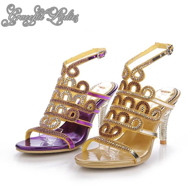 1fd78dad5dc2 Gold Purple Rhinestones Med Heels Women Sandals Crystals Wedding Shoes  Sandal Ankle Strap Crystals Bridal Sandal Shoes