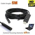 HD 2-МЕГАПИКСЕЛЬНАЯ 6LED 9 ММ USB Эндоскоп Инспекции МИНИ-Камеры, Водонепроницаемый Бороскоп Змея Область С 5 М Гибкая Трубка Вставки трубы Кабеля