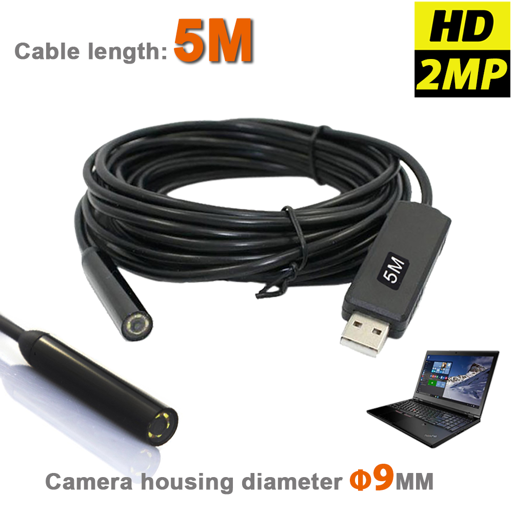 HD 2MP 6LED 9MM USB Endoscope Inspection MINI Camera Waterproof Borescope Snake Scope With 5M Flexible Insertion Tube Pipe Cable 7mm 5m windows pc endoscope usb camera ip67 waterproof inspection flexible snake usb tube pipe dection borescope camera 6led