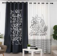 INS Black and White Letters Printed Curtain Panel for Living Room Bedroom Blackout Curtains Drapes Window Panel Wide Style New