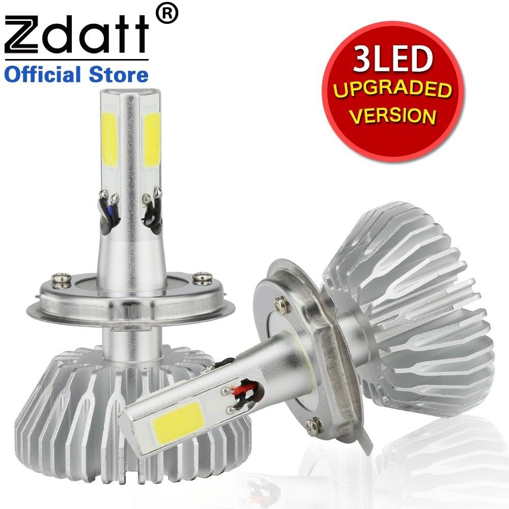 Zdatt 3 Side Lighting H4 Led Bulb 60W 6600Lm Headlights H7 H8 H9 H11 9005 HB3