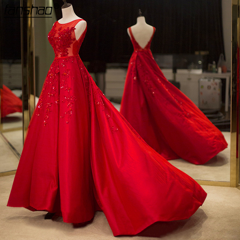 Vestidos De Fiesta Red Beading Ball Gown Prom Dresses Backless Red Evening Gown Formal Party Dress Vestidos Longos