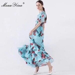 Image 3 - MoaaYina 패션 디자이너 런웨이 드레스 봄 여름 여성 드레스 v 목 신축성 허리 과일 꽃 프린트 프릴 드레스