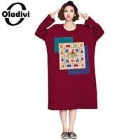 Oladivi New 2017 Fall Autumn Winter Women Thick Warm Shirt Dress Casual Loose Tops Tunic Cotton