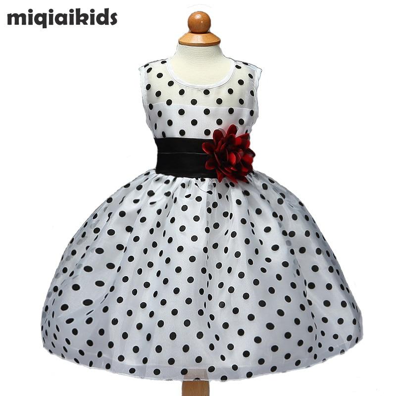 Mazumtirdzniecība 2019 Jauns ierašanās vasaras viļņa punkts Bērnu kleita ziedu meitenes kleita kāzu svinību kleita Dot bumbu kleita L1101