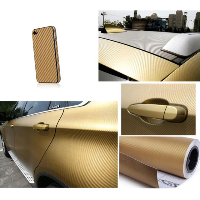 152x30cm3D Gold Carbon Fiber Hood Wrap Film Twill Vinyl Sheet Roll - 3D  Carbon Fiber (60