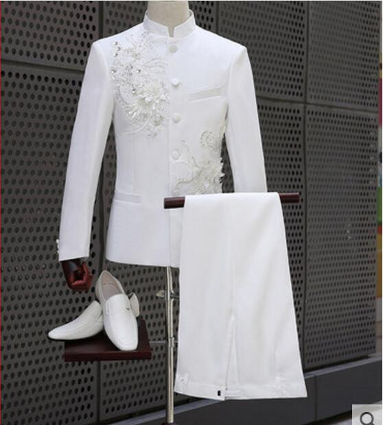 US $68.64 12% OFF|Chinese Tunic Suit Plus Size White Set Big Stones Silver  Sequins Flower Embroidered Slim Jacket Pants Men Singer Show Stage Wear-in  ...