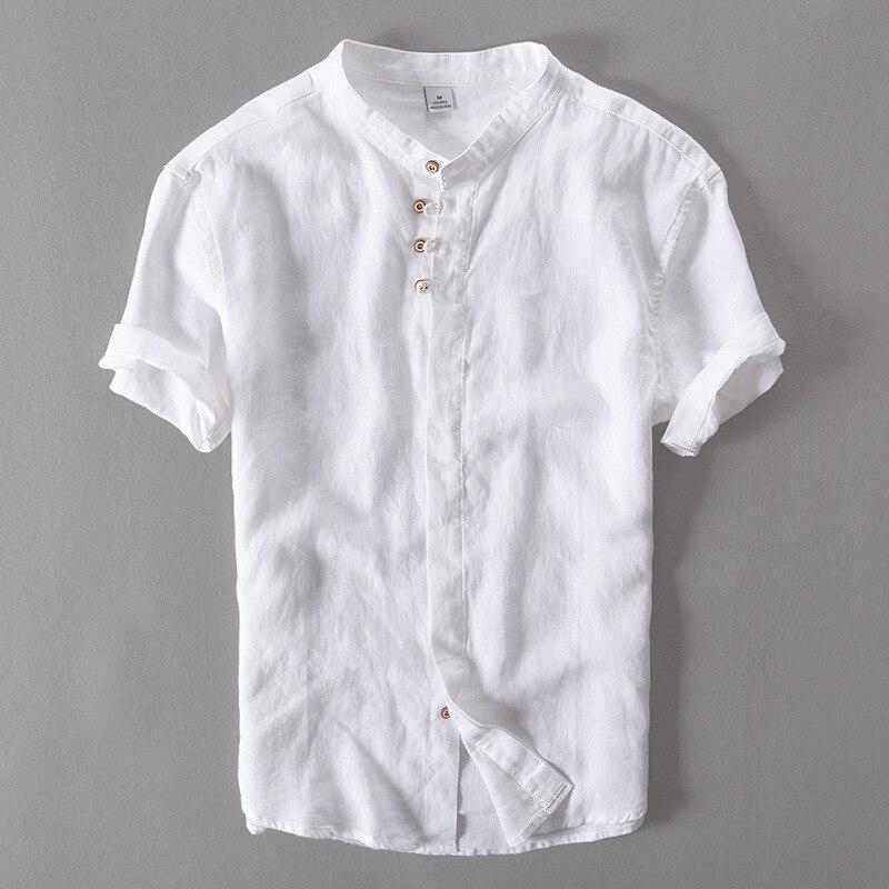 100% Camicia Di Lino Di Estate Degli Uomini Breve Sleve Camicette Uomini Casual Camicia Del Collare Del Basamento Di Lino Mens Bianco Camisa Masculina Chemise Homme