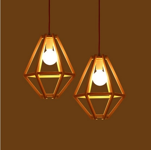 Nordic Simple Aluminum Wood Art Droplight Modern Led