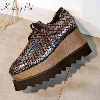 Krazing Pot Autumn Spring fish scales decoration increased shoes princess fairy lace up wedges waterproof increased shoes L57