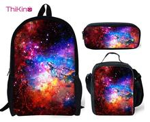 Thikin Children School Bag Set for Boys Girls 3D Galaxy Star Universe Space Pattern Orthopedic Backpack Kids Book Bags Travelbag