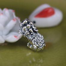 100% 3D 999 srebro Fengshui Pixiu koraliki twarde czyste srebro szczęście bestia koraliki do biżuterii DIY bransoletka Piyao koraliki potężne dla bogactwa
