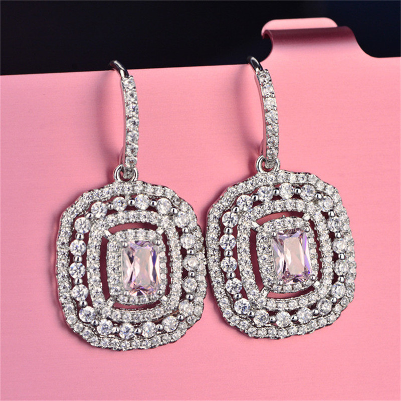 HTB1OM0KayCYBuNkHFCcq6AHtVXa7 Eardrop Earrings For Women S925 Sterling Silver Topaz Temperament Elegant White & Pink Diamant Wedding Brincos Fine Jewelry