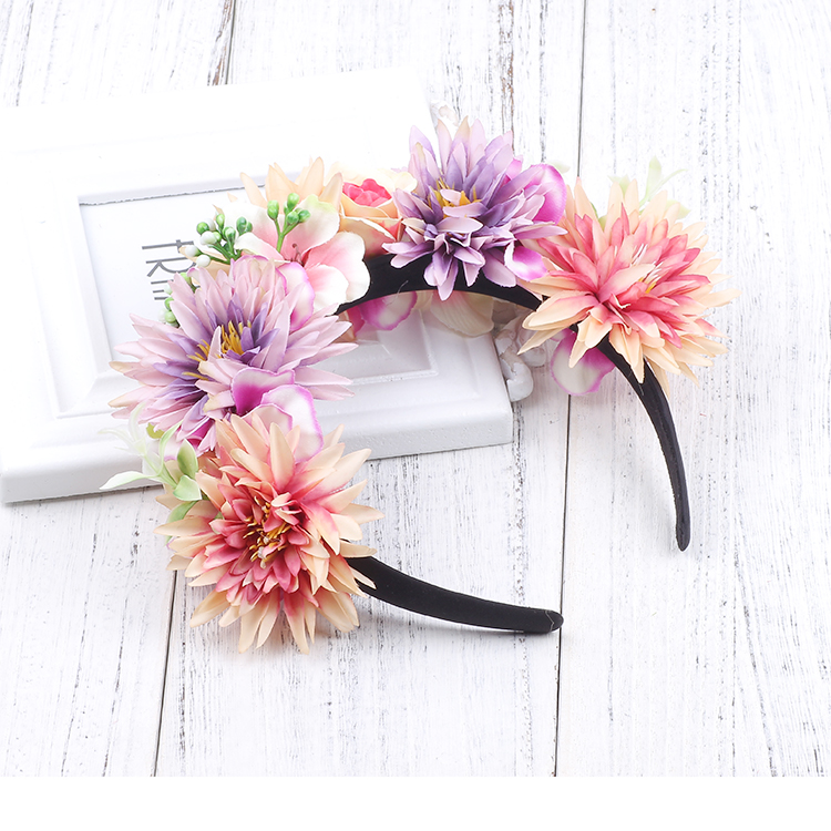 Girl Hair Accessories Wedding Party Colorful Girls Flowers Garland Headband Kids Flowers Hairbands Crown Princess Children