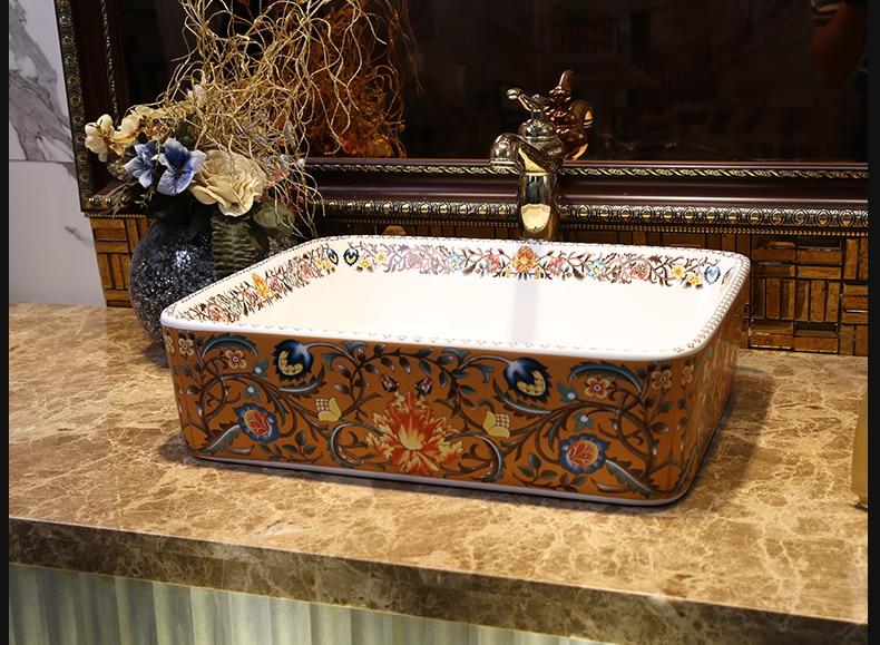 Europe Vintage Style Art Countertop Basin Sink Handmade Ceramic Bathroom Vessel Sinks Vanities bathroom sink bowl (3)