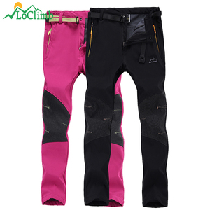 LoClimb Men Women Outdoor Sport Softshell Pants Waterproof Windproof Fleece Trousers Trekking Climbing Ski Hiking Pants,AM174
