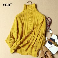VGH Autumn Sweater For Women Turtleneck Collar Long Sleeve Loose Big Size Solid Pullovers 2018 Korean Fashion Clothing New