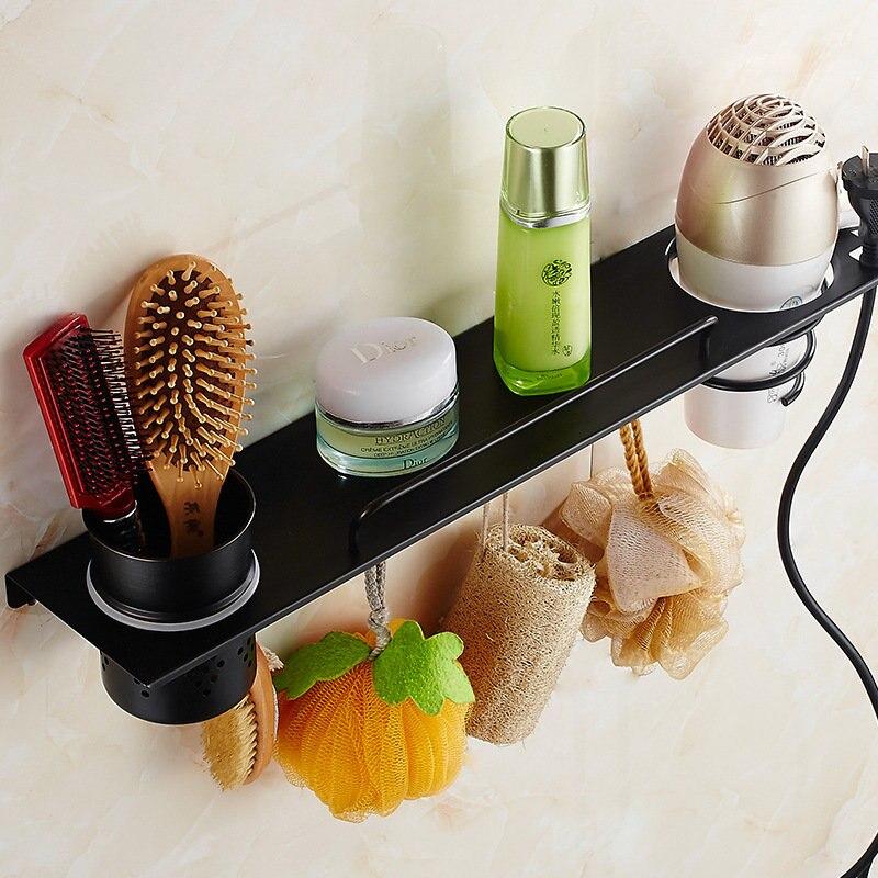 Prateleiras do Banheiro do Aço Suporte de Parede Secador de Cabelo Rack de Cozimento Pintado de Hardware Inoxidável Montado Preto Banheiro 304