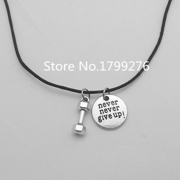 Double nose antique silver tone fitness crossfit motivation never double nose antique silver tone fitness crossfit motivation never never give up weightlifting barbell bodybuilding necklace in pendant necklaces from aloadofball Images