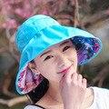 2016 Impreso Floral Sombreros de Sun para Las Mujeres Dos Lados Disponibles Sombreros Al Aire Libre Protección UV Plegable Casual Caps