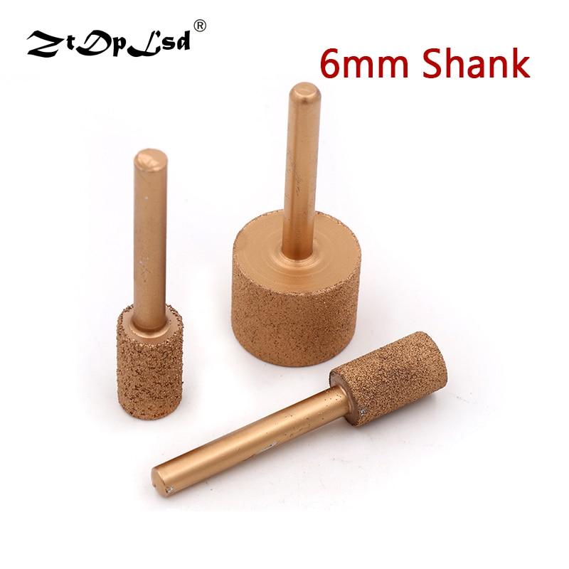 1PCS 6MM Shank 12MM To 25MM Brazed Diamond Grinding Head Burrs Carving Peeling Bits For Jade Stone Concrete Ceramic Mill Bullet
