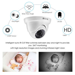 Image 5 - ZOSI 1080P HD TVI 2.0MP CCTV Dome Camera Home Security System 65ft Night Vision Waterproof for 1080P HD TVI DVR Systems
