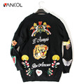 Vancol 2016 European Big Brand Sweater Long Sleeve Cardigans Tiger Flower Embroidery Cardigan Sweater New Fashion Women Sweater