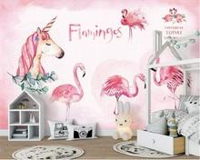 Купить с кэшбэком beibehang Custom wallpaper 3D Cartoon Pink flamingo unicorn Wall Sticker TV backdrop wall mural Wallpaper for wall 3 d behang