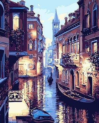 PAINTBOY Incorniciato Paesaggio di Venezia Pittura di DIY Dai Numeri Pittura Pitture Murali Tela Digitale Pittura A Olio Decorazione Della Casa