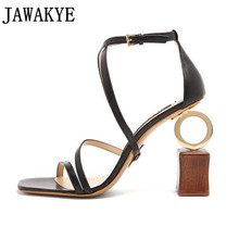 2018 sheep skin sandals women geometric asymmetrica strange high heels  strappy personality catwalk wedding shoes zapatos d0a516b67883
