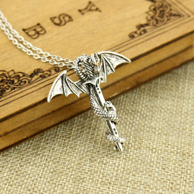 Game of Thrones Necklace Flying Dragon With Wings Rolled Sword Pendant Necklace