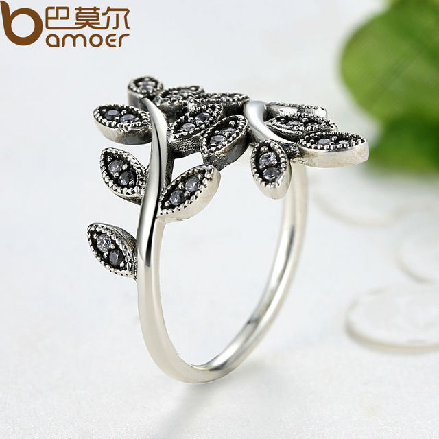 Sterling Silver Sparkling LEAVES SILVER RING