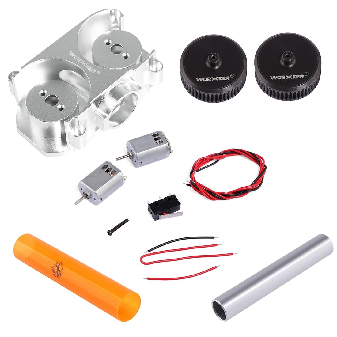 TRABALHADOR ABS Modificado Volante Roda de Nervura Reta + Tubo De Rosca De Plástico + Tubo De Alumínio + Volante Plana Gaiola + 132 Motor para NERF