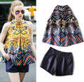 Women's Summber Oriental Retro Vintage Royal Printing Loose Blouse Tops and Shorts Graceful Clothing Set Party Pants Suits NS109
