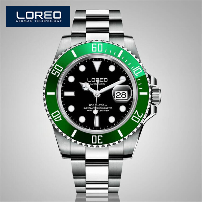 LOREO Germany Watches Men Luxury Brand Diver 200M Automatic Mechanical Watch Army Milan Luminous Gray Relogio Masculino AB2029