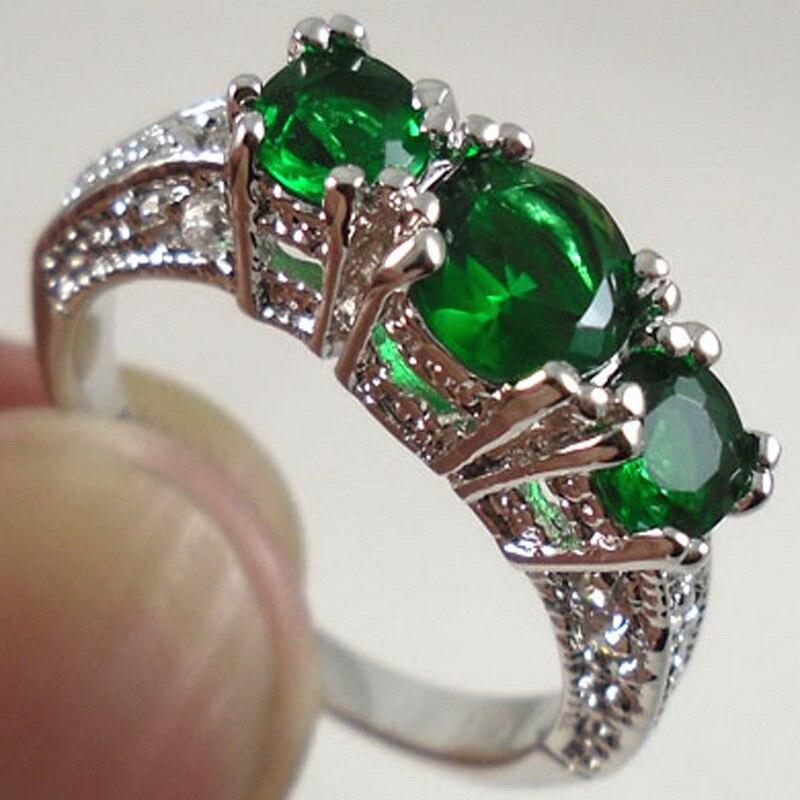 Модные Белые/черные/красные/фиолетовые/зеленые/синие кубические циркониевые кольца с тремя камнями для женщин, свадебные ювелирные издели...