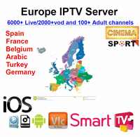 1 year 2000+ lIVE Europe IPTV No monthly fee M3U ENIGAM2 Andriod APP Germany French Spain TR UK sport MEDIASET PREMIUM football