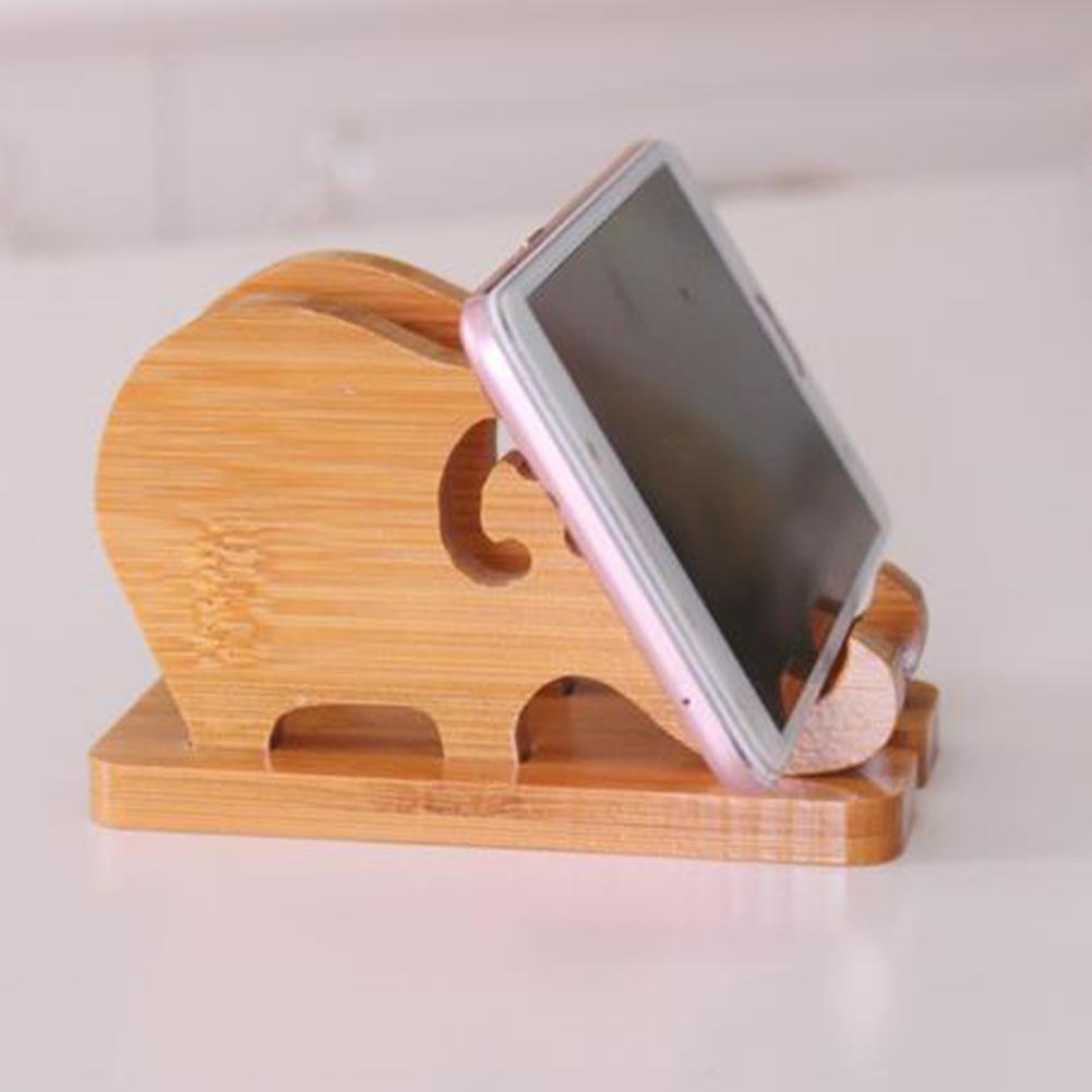 Bamboo Elephant Anti-slip Mobile Phone Holder Stand Bracket Table Decor Gift Bamboo Holder Stand For Uniiversal Mobile Phone