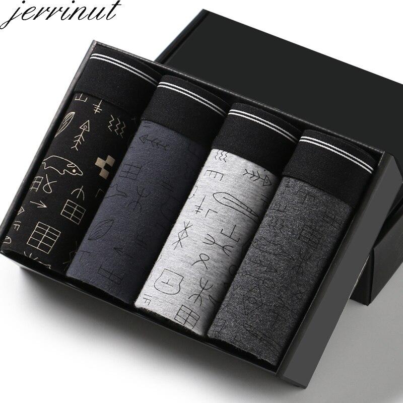 100% Wahr Jerrinut 4 Teile/los Neue Mode Männer Unterwäsche Boxer Sexy Eigenschaften Cueca Boxer Männer Baumwolle Atmungsaktive Unterhose Mann Boxer Marke