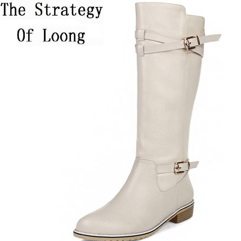 Women Autumn Winter Low Heel Full Grain Leather Buckle Round Toe Fashion Knee High Boots Plus Size 33-43 SXQ1013