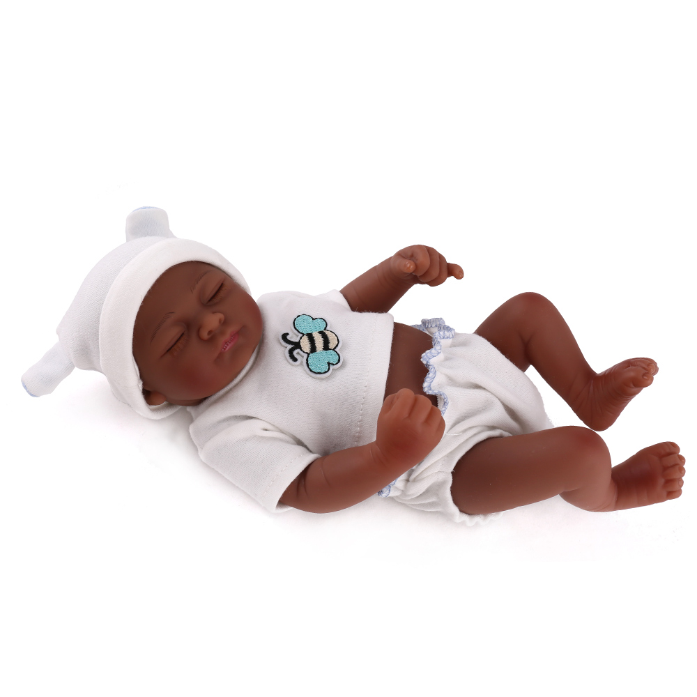 10 inch 25cm African American Black Silicone Babies Reborn Popular Toys Soft Vinyl Realistic Mini Doll Promotion Cute play Toy