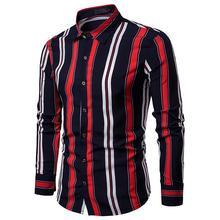 Mens Dress Shirts Stylish Double Strips Lapel Long sleeve Shirt Clothing Slim fit White Black New